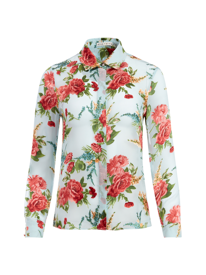 WILLA FLORAL PLACKET TOP - FLORAL EXPRESS SM WATERFALL - Alice And Olivia