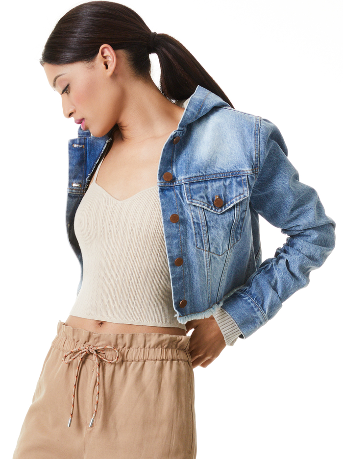 EMMA SCRUNCHED SLEEVE HOODIE JACKET - BEST INTENTIONS - Alice And Olivia