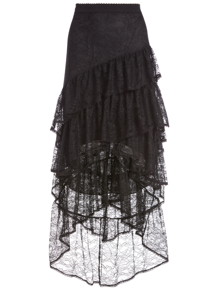 ONIE ASYMMETRICAL LACE SKIRT - BLACK - Alice And Olivia