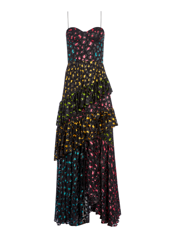 LUELLA CRST ASYM RFL MAXI DRE - ABSTRACT LEOPARD/RUBY/COMBO - Alice And Olivia