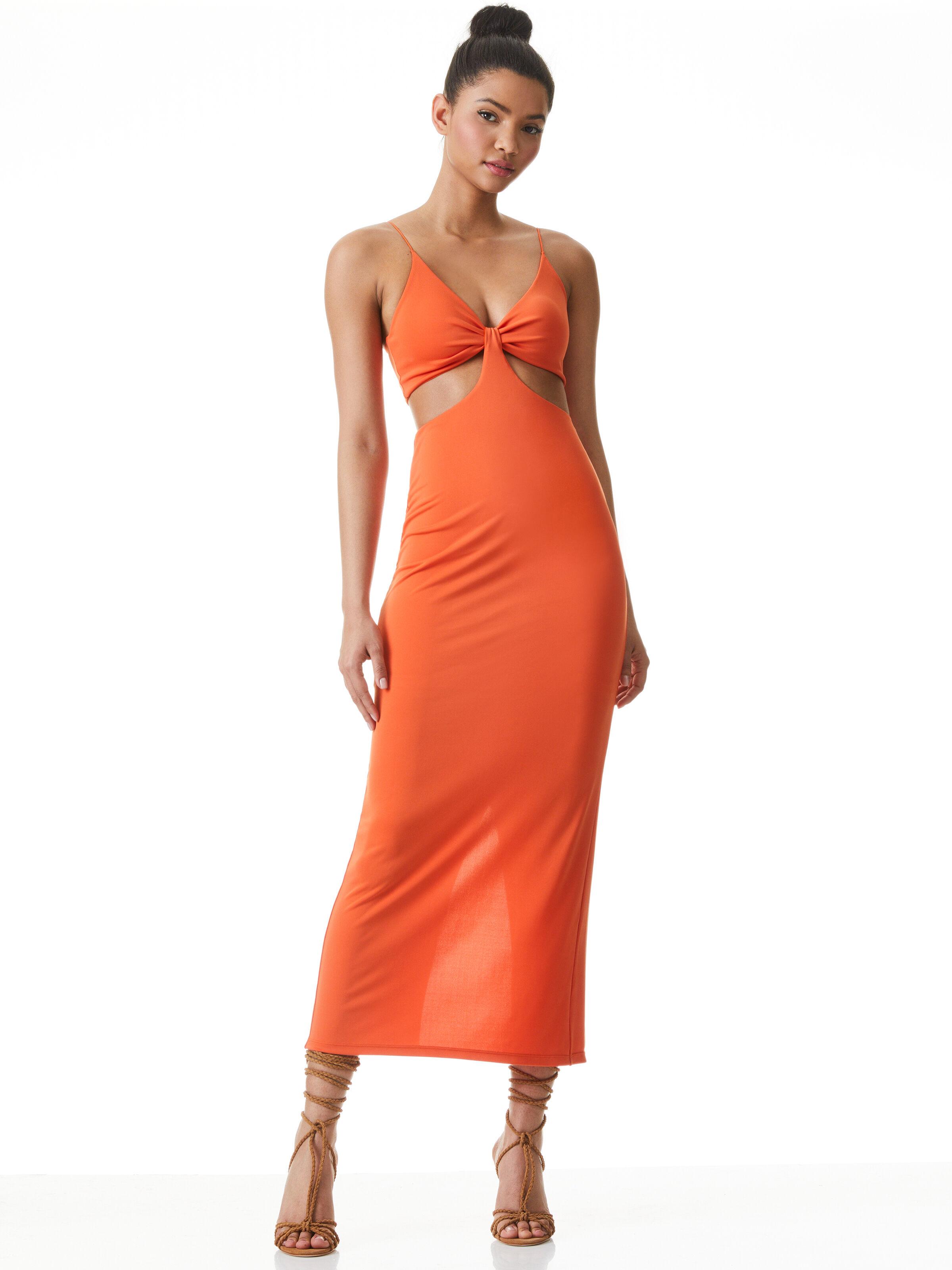 Cut Out Cocktail Dress,Orange Maxi Dress,cut out maxi dress,orange maxi dress,