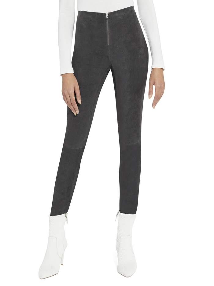 FRONT ZIP SUEDE LEGGING - CHARCOAL - Alice And Olivia