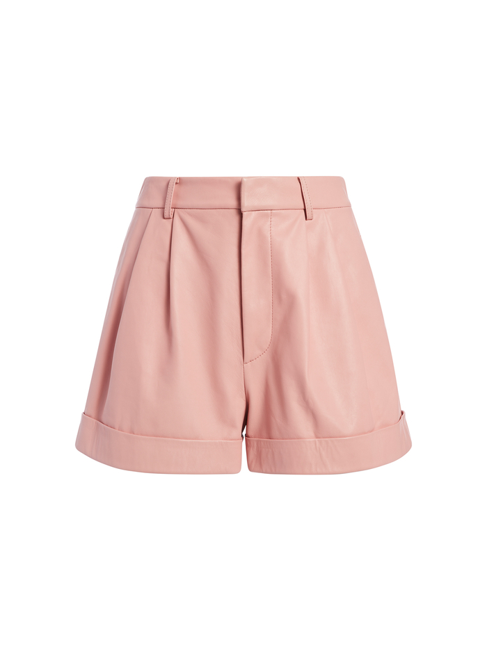 CONRY LEATHER PLEATED SHORTS - ROSE TAN - Alice And Olivia