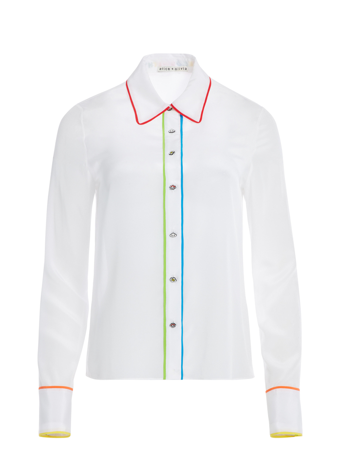 AO X FRIENDSWITHYOU WILLA TOP - OFF WHITE/MULTI - Alice And Olivia