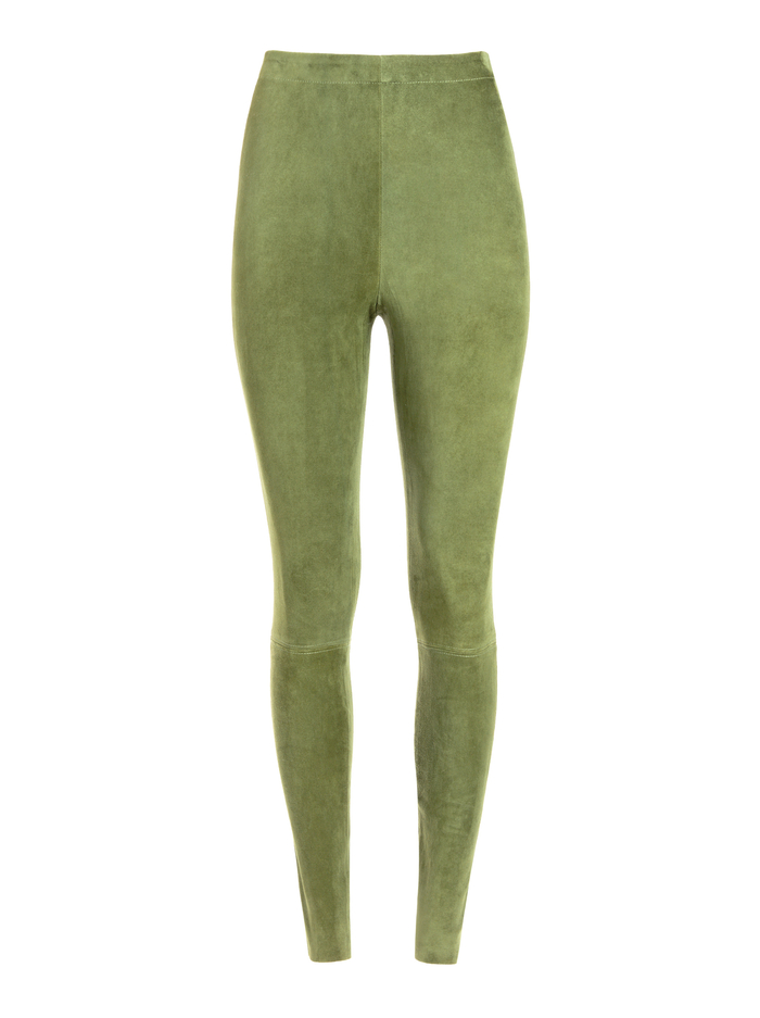 MADDOX BACK ZIP SUEDE LEGGING - SAGE - Alice And Olivia