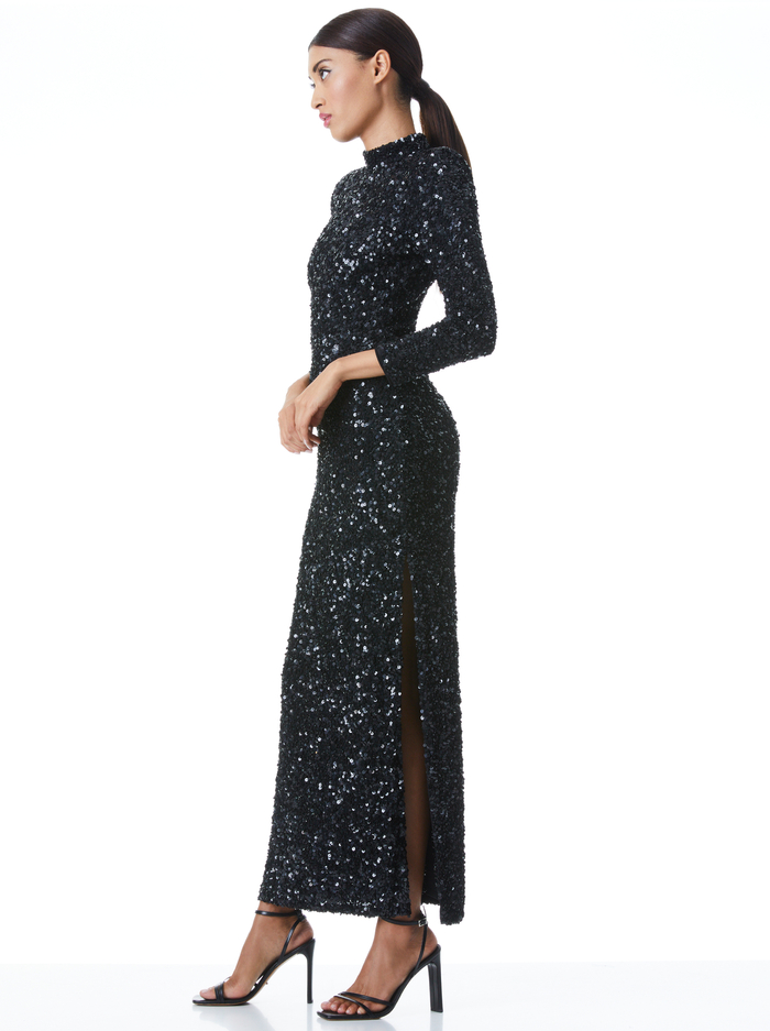 INKA SEQUIN MAXI GOWN - BLACK - Alice And Olivia
