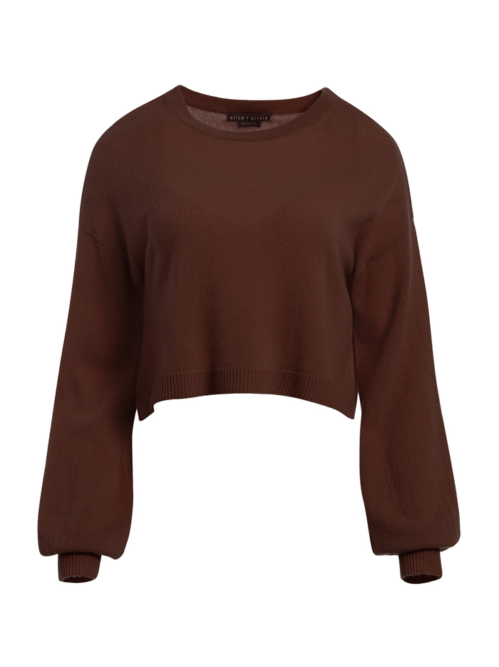 ANSLEY WIDE SLEEVE CROPPED SWEATER - CHOCOLATE - Alice And Olivia