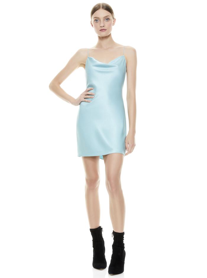 HARMONY DRAPEY SLIP DRESS - WATERFALL - Alice And Olivia