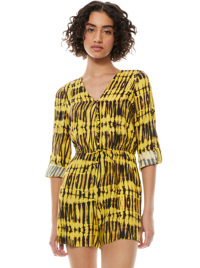 WINNIE BUTTON FRONT ROMPER - SUN DRENCHED SUNBEAM - Alice And Olivia