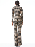 OLIVIA HOUNDSTOOTH BOOTCUT PANT - ALMOND/BLACK