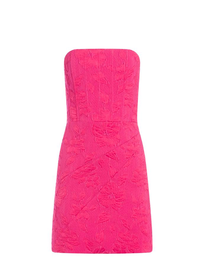 PERLA FLORAL STRAPLESS MINI DRESS - WILD PINK - Alice And Olivia