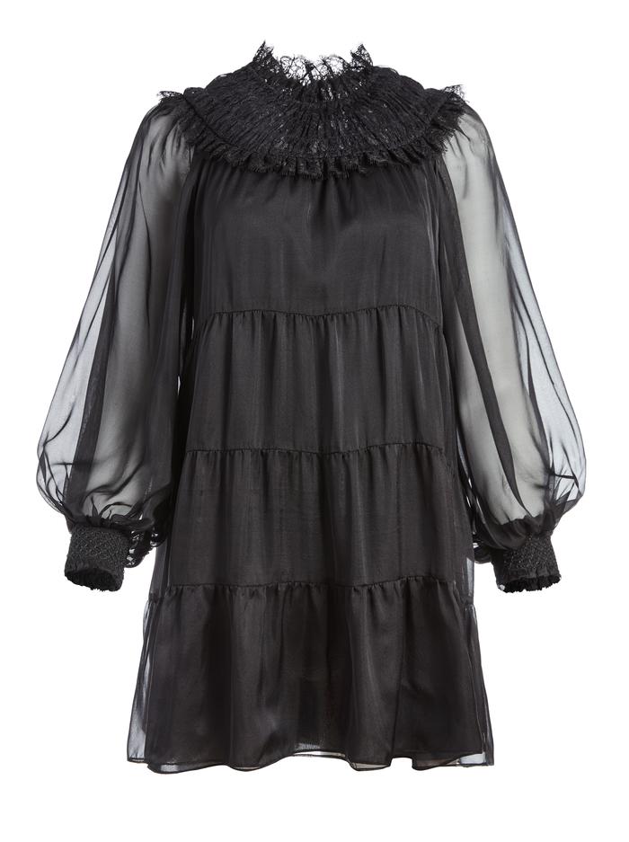 KELLYANN SMOCKED MINI DRESS - BLACK - Alice And Olivia