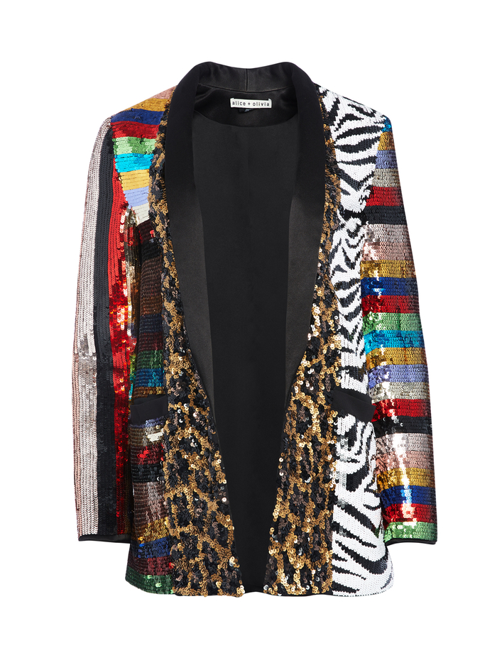 KYLIE SEQUIN ANIMAL PRINT JACKET - BLACK/MULTI - Alice And Olivia