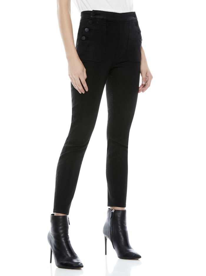 DONALD COATED SKINNY JEAN - BLACK - Alice And Olivia