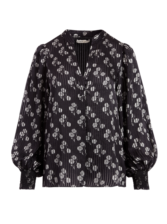 SHEILA FLORAL HENLEY TOP - SWEETHEART BLACK/CREAM - Alice And Olivia