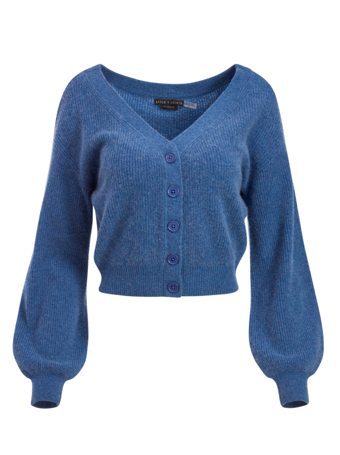 DEE OFF THE SHOULDER CARDIGAN - CHAMBRAY - Alice And Olivia