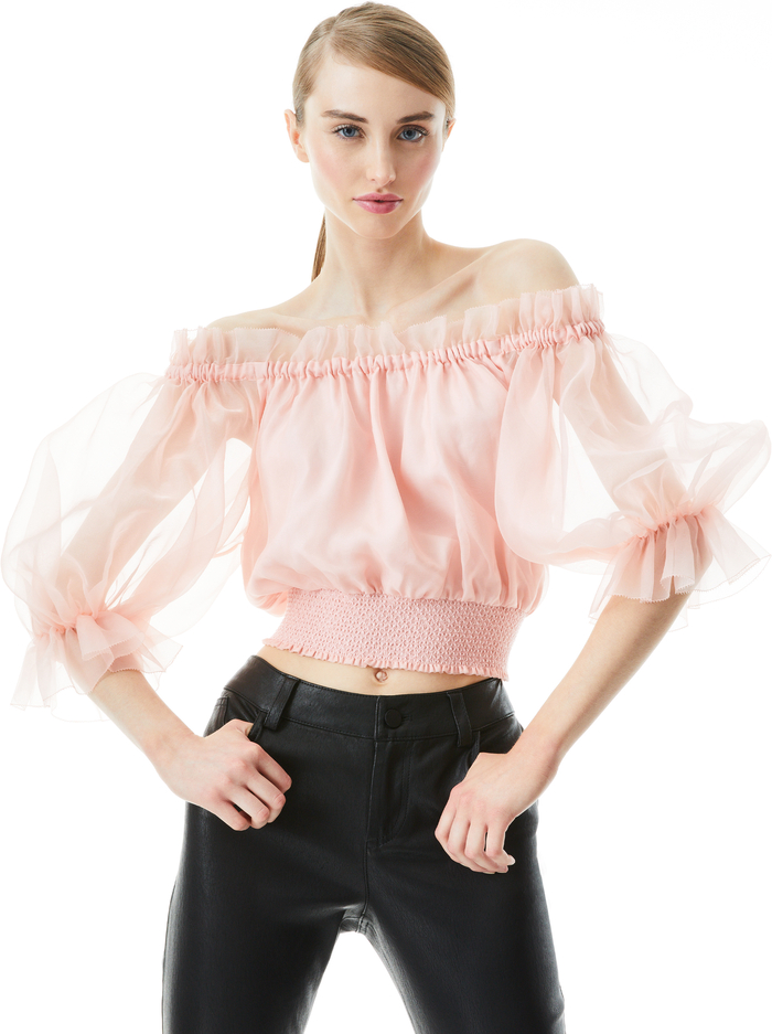 CAPRINA OFF THE SHOULDER CROP TOP - ENGLISH ROSE - Alice And Olivia