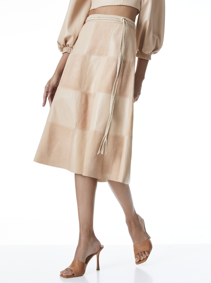 SOSIE SUEDE PATCHWORK MIDI SKIRT - ALMOND - Alice And Olivia