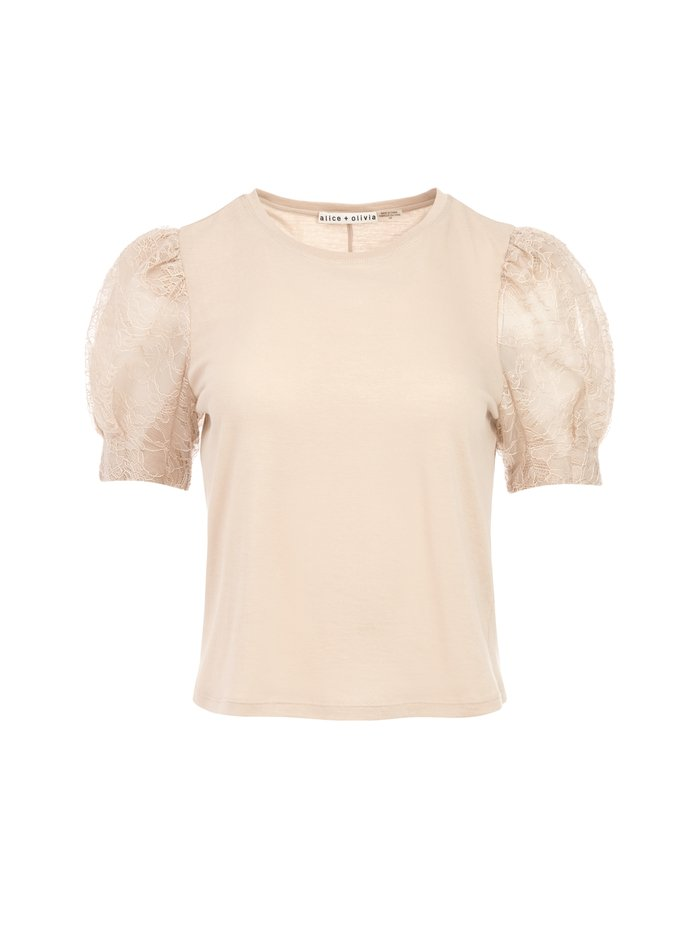 POSEY LACE PUFF SLEEVE TEE - NUDE - Alice And Olivia