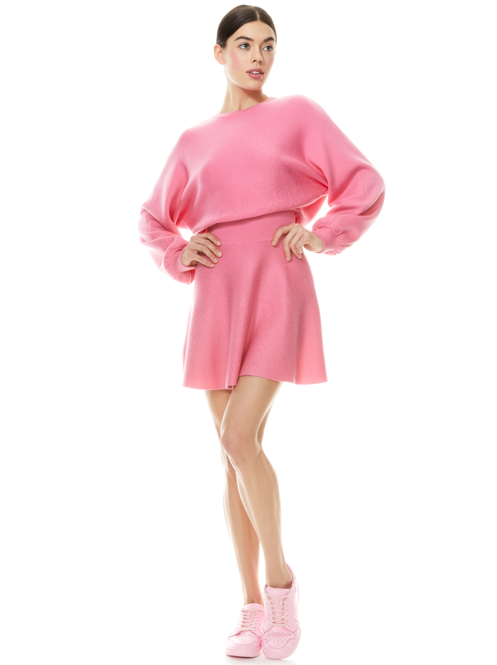 MURRAY FIT AND FLARE MINI DRESS - CALYPSO PINK - Alice And Olivia