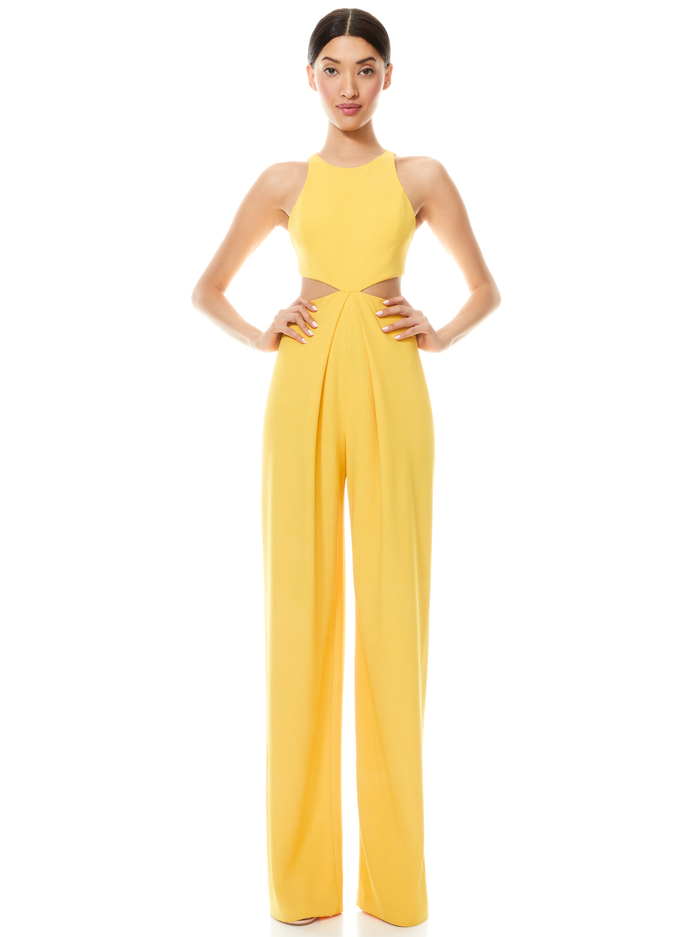 CARA CUT OUT JUMPSUIT - GOLDEN ROD - Alice And Olivia