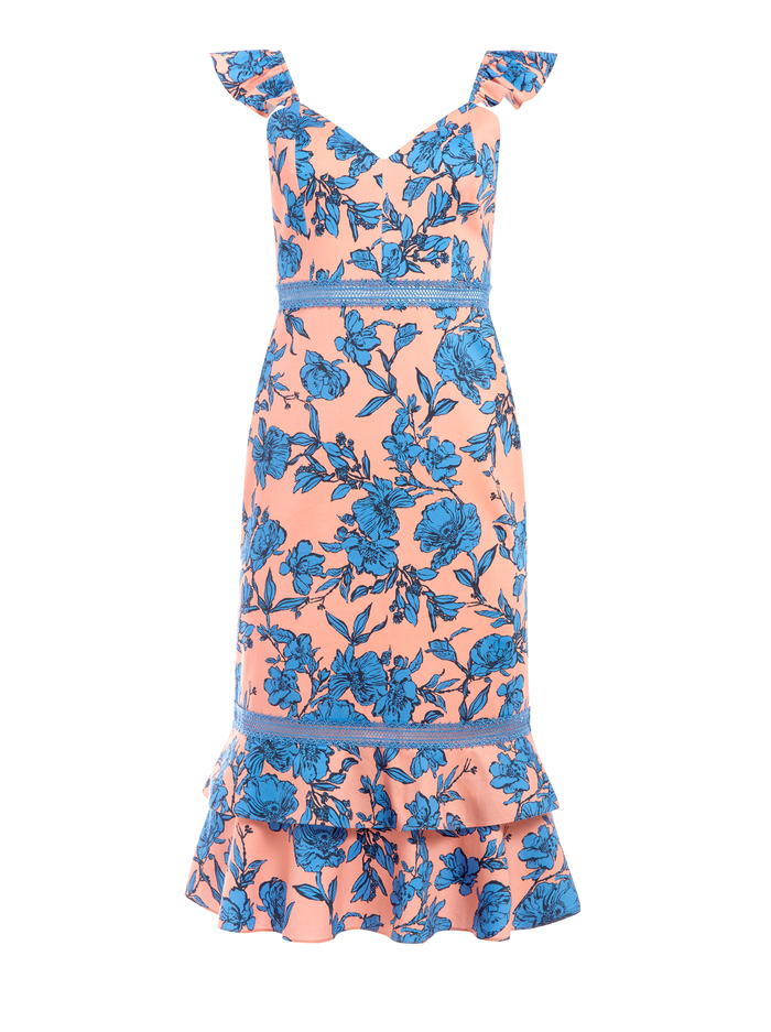 JADE FLORAL RUFFLE MIDI DRESS - SKETCH FLORAL LG LT PCH/PARADS - Alice And Olivia