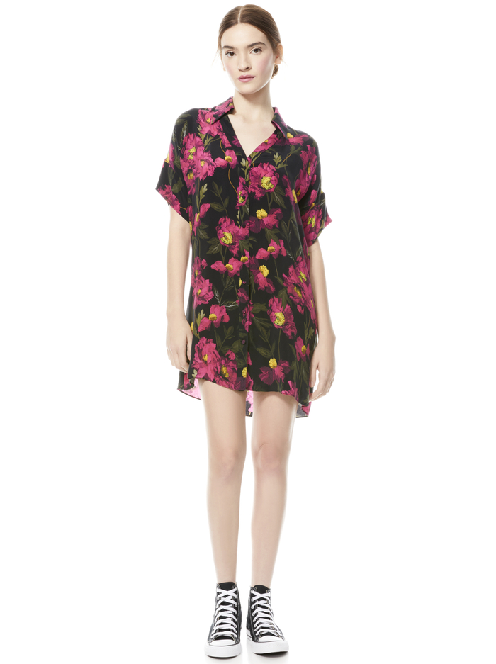 LUCETTE FLORAL MINI SHIRTDRESS - CALIFORNIA POPPY - Alice And Olivia