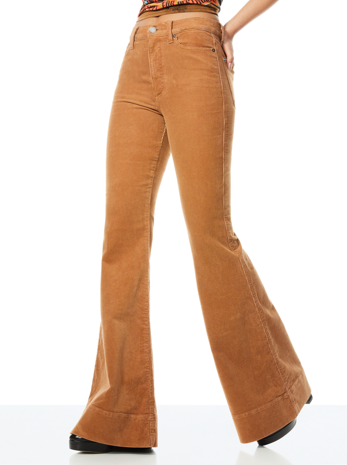 BEAUTIFUL HIGH RISE CORDUROY BELL - CAMEL - Alice And Olivia