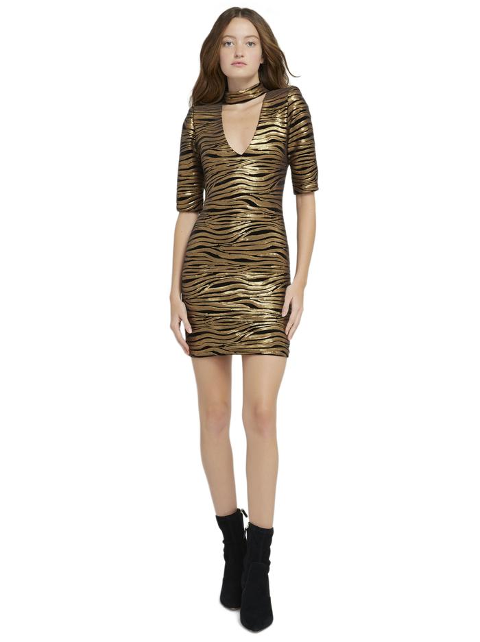 INKA GOLD V-NECK DRESS - BLACK/BRONZE - Alice And Olivia