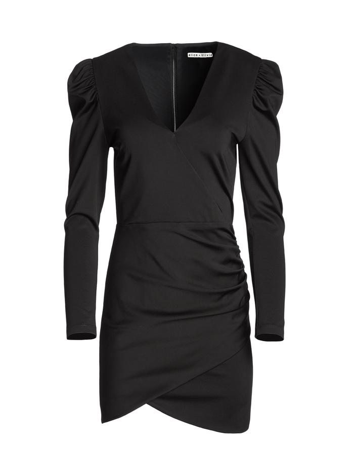 JUDY RUCHED MINI DRESS - BLACK - Alice And Olivia