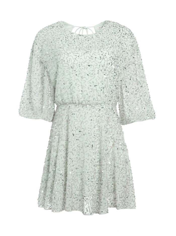 PALMIRA EMBELLISHED MINI DRESS - VENUS BLUE - Alice And Olivia