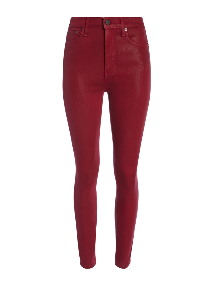 GOOD HIGH RISE COATED SKINNY JEAN - RED - Alice And Olivia