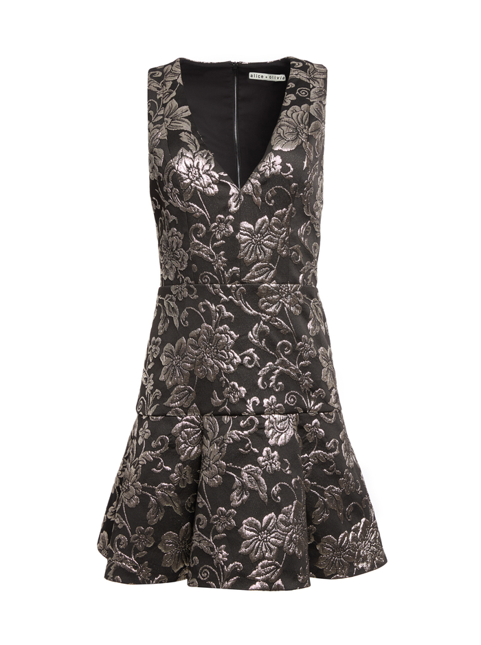 MARLEEN SILVER MINI DRESS - BLK/SILVER - Alice And Olivia