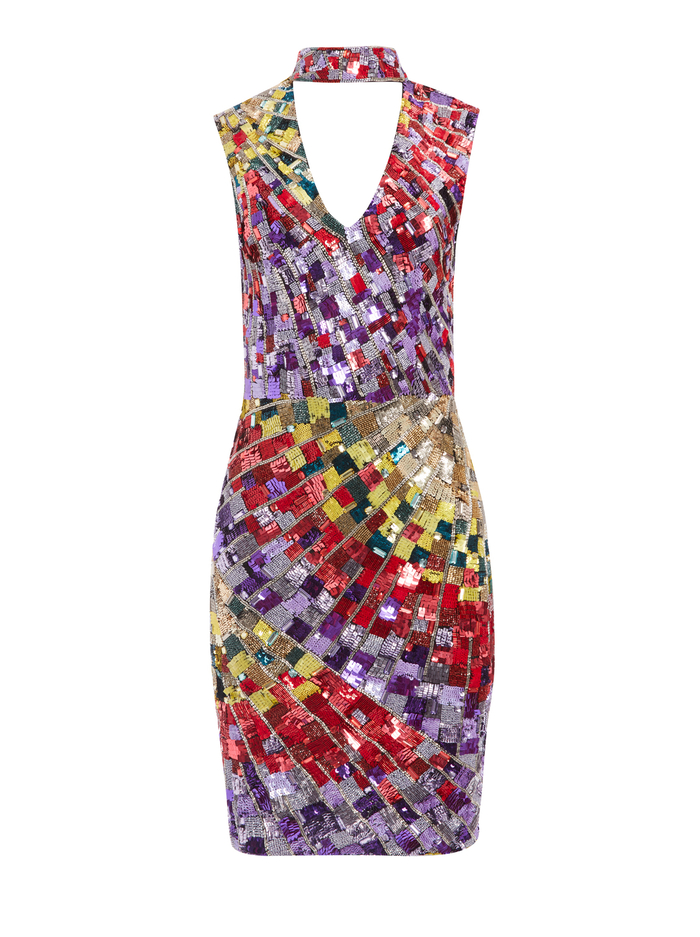 DUMONT SEQUIN SLEEVELESS GOWN - MULTI - Alice And Olivia