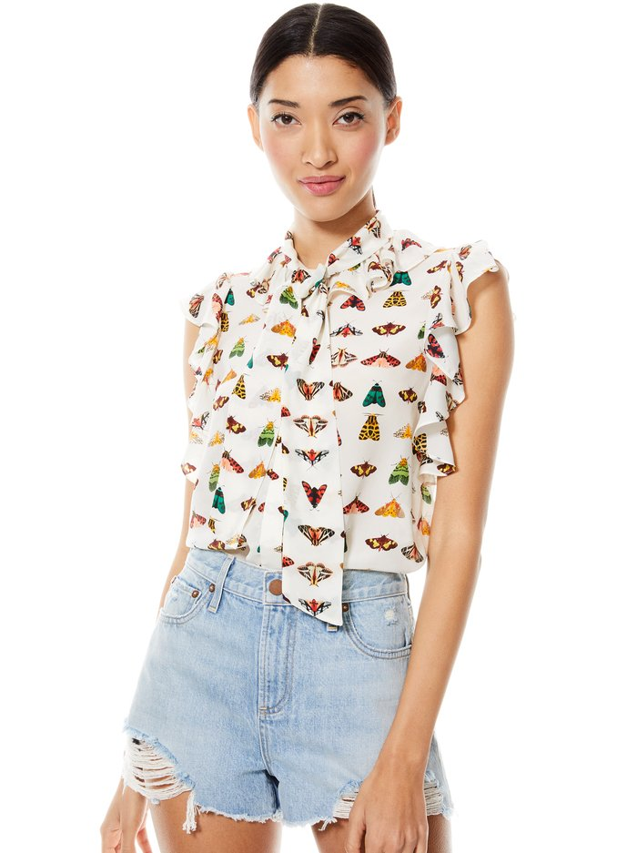 ROBBIE BUTTERFLY BLOUSE - FLY AWAY - Alice And Olivia
