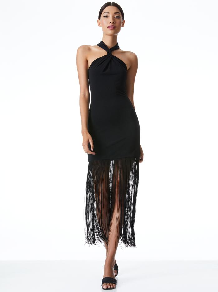 STEPH HALTER NECK FRINGE DRESS - BLACK - Alice And Olivia