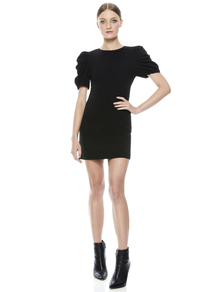 HANITA PUFF SLEEVE SHIRT DRESS - BLACK - Alice And Olivia