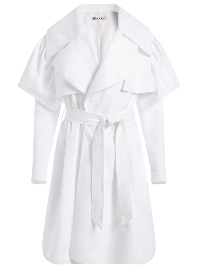 MELODIE RUFFLE SLEEVE TRENCH COAT - WHITE - Alice And Olivia