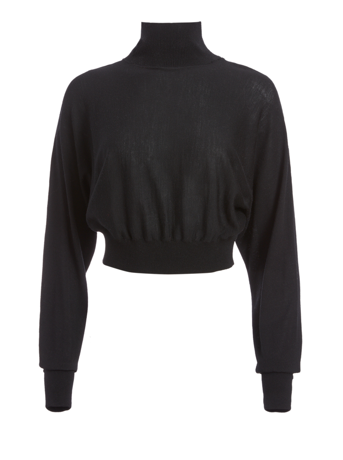 DIA CROPPED SWEATER - BLACK - Alice And Olivia