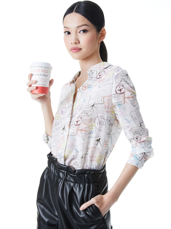 WILLA PLACKET TOP  - GLOBE TROTTER - Alice And Olivia