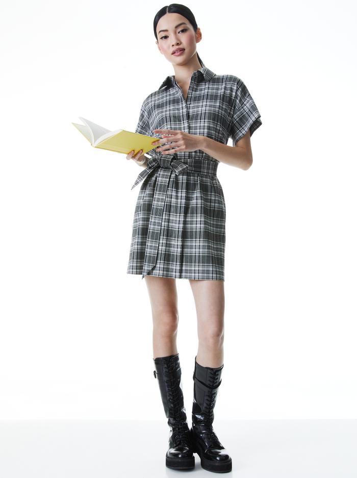 LUCETTE PLAID SHIRT DRESS - MEDIUM GREY/MULTI - Alice And Olivia
