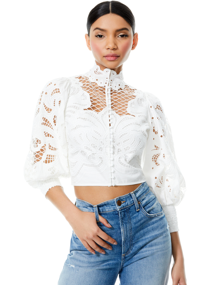 YAZ EYELET CROP BLOUSE - OFF WHITE - Alice And Olivia