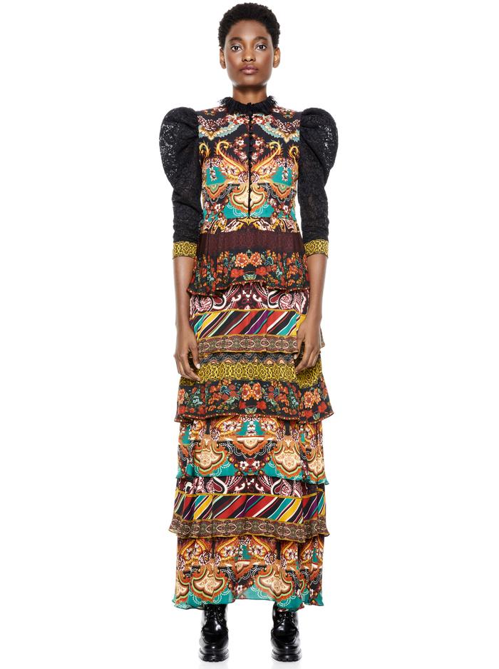 WILHEMINA TIERED MAXI DRESS - SPELLBOUND MULTI/BLACK - Alice And Olivia