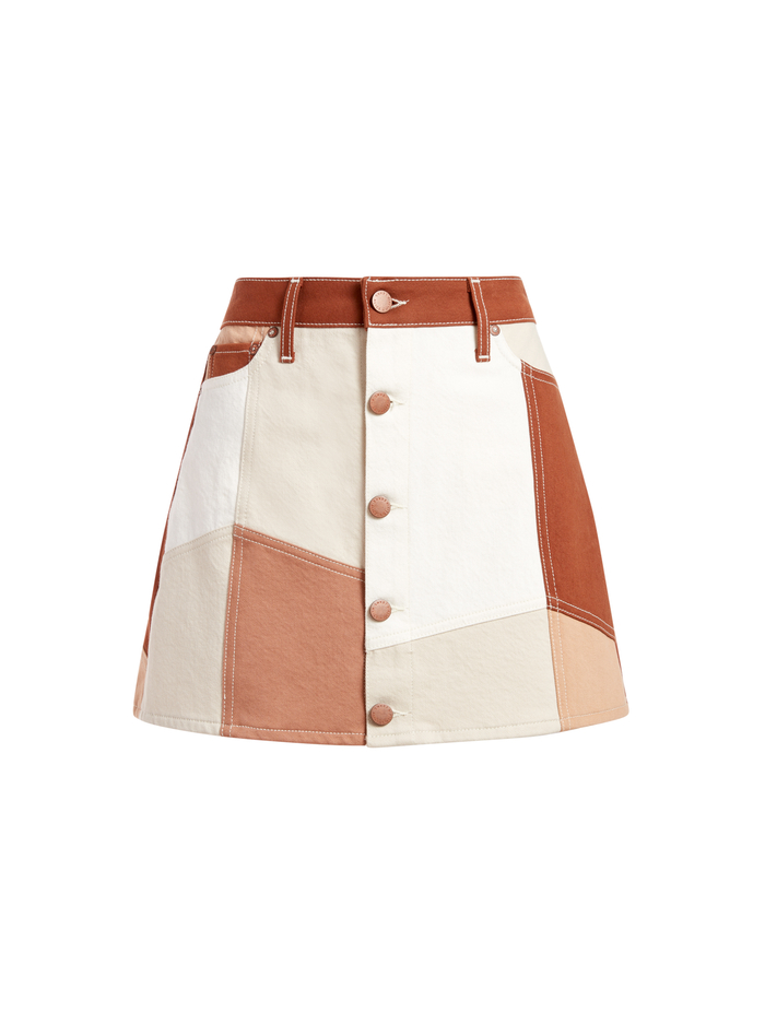 GOOD HIGH RISE PATCHWORK SKIRT - SANDPILE - Alice And Olivia
