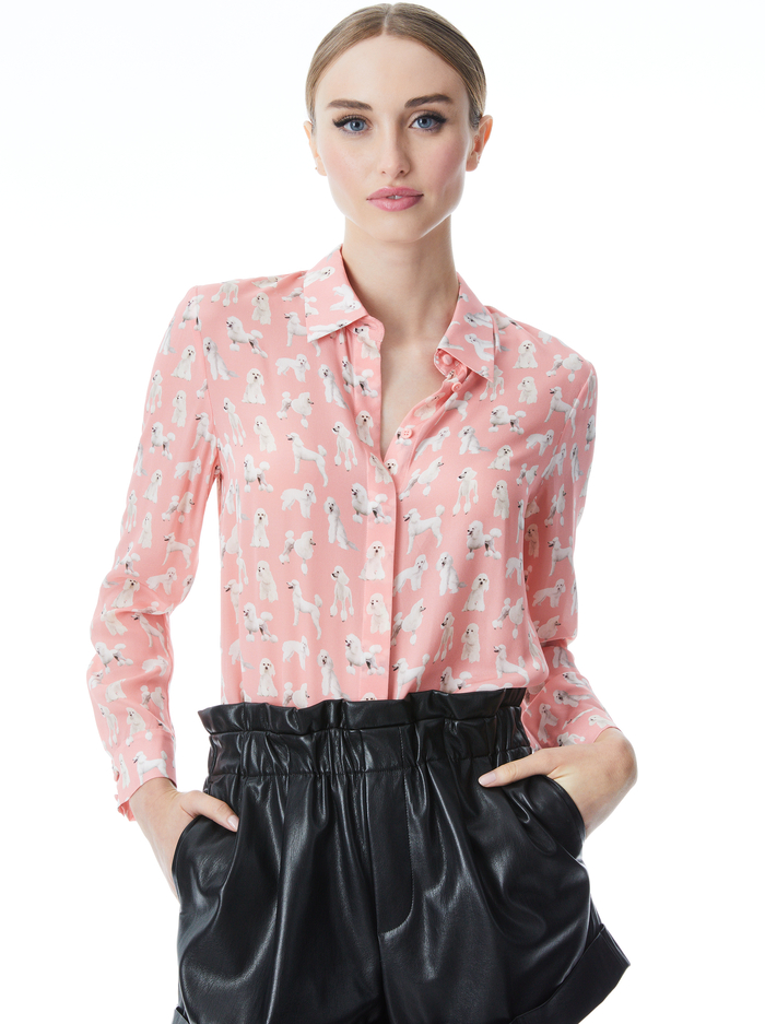 WILLA POODLE PLACKET TOP - POODLES PINK - Alice And Olivia
