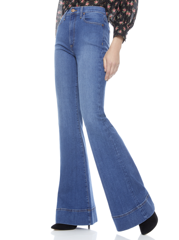 BEAUTIFUL HIGH RISE BELL JEAN - OFF THE CUFF - Alice And Olivia