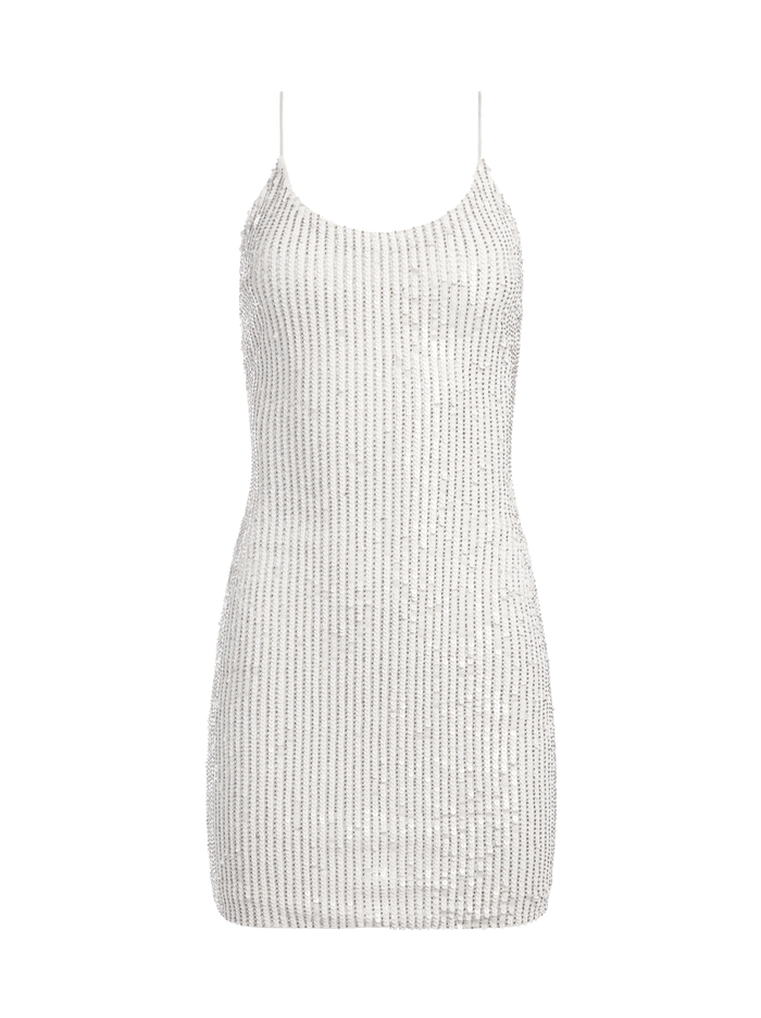 NELLE SEQUIN FITTED MINI DRESS - WHITE - Alice And Olivia