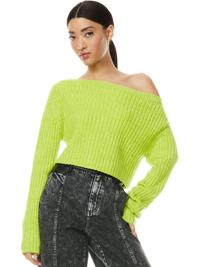 JONAH OFF THE SHOULDER PULLOVER - LIME PUNCH - Alice And Olivia