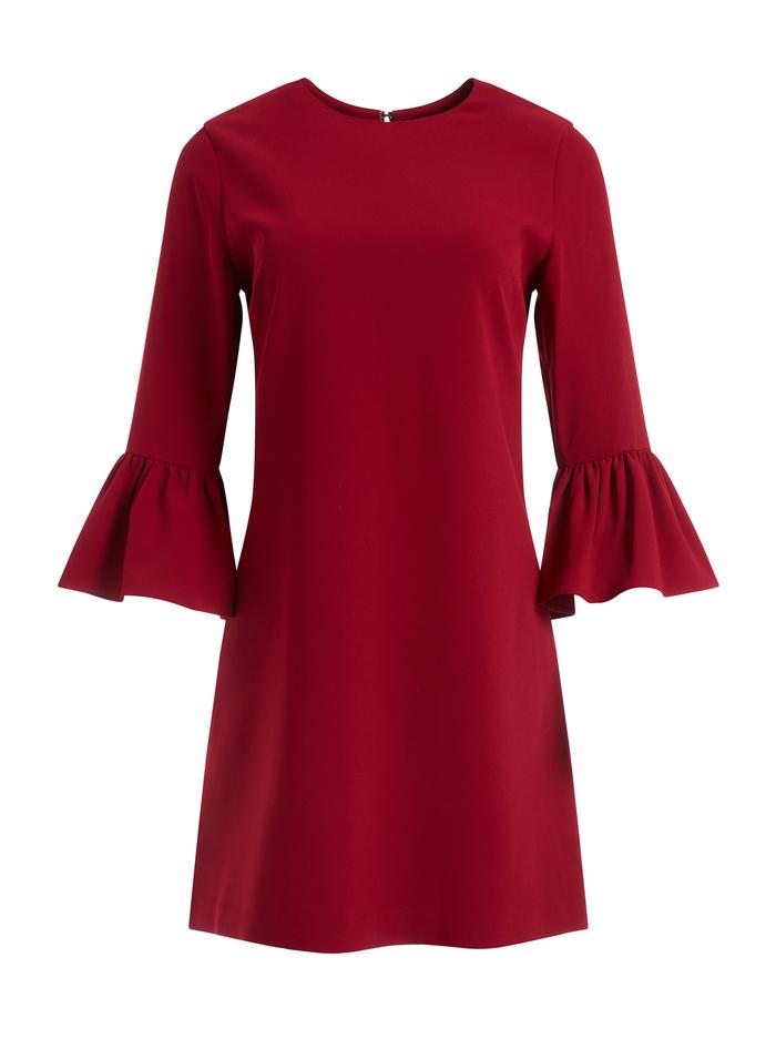 COLEY CREW NECK ALINE DRESS - BORDEAUX - Alice And Olivia