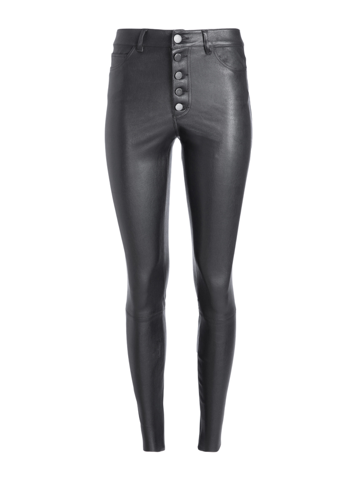 MIKAH HIGH RISE LEATHER PANT - BLACK - Alice And Olivia